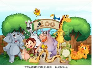 stock-vector-illustration-of-a-zoo-and-the-animals-in-a-beautiful-nature-116808127