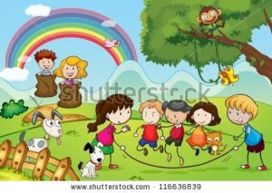 stock-vector-illustration-of-animals-and-kids-in-a-beautiful-nature-116636839